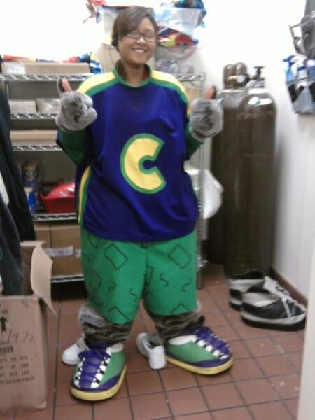 Channa Mik in Chuck E Cheese costume