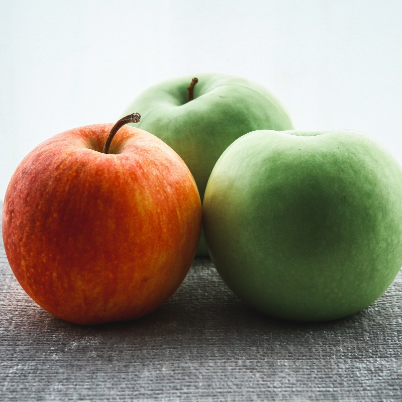 Green apples and red apple