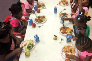 Kids eating at a table together