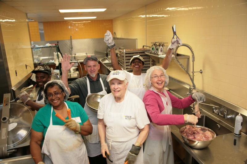 Volunteers and Staff in Community Kitchen
