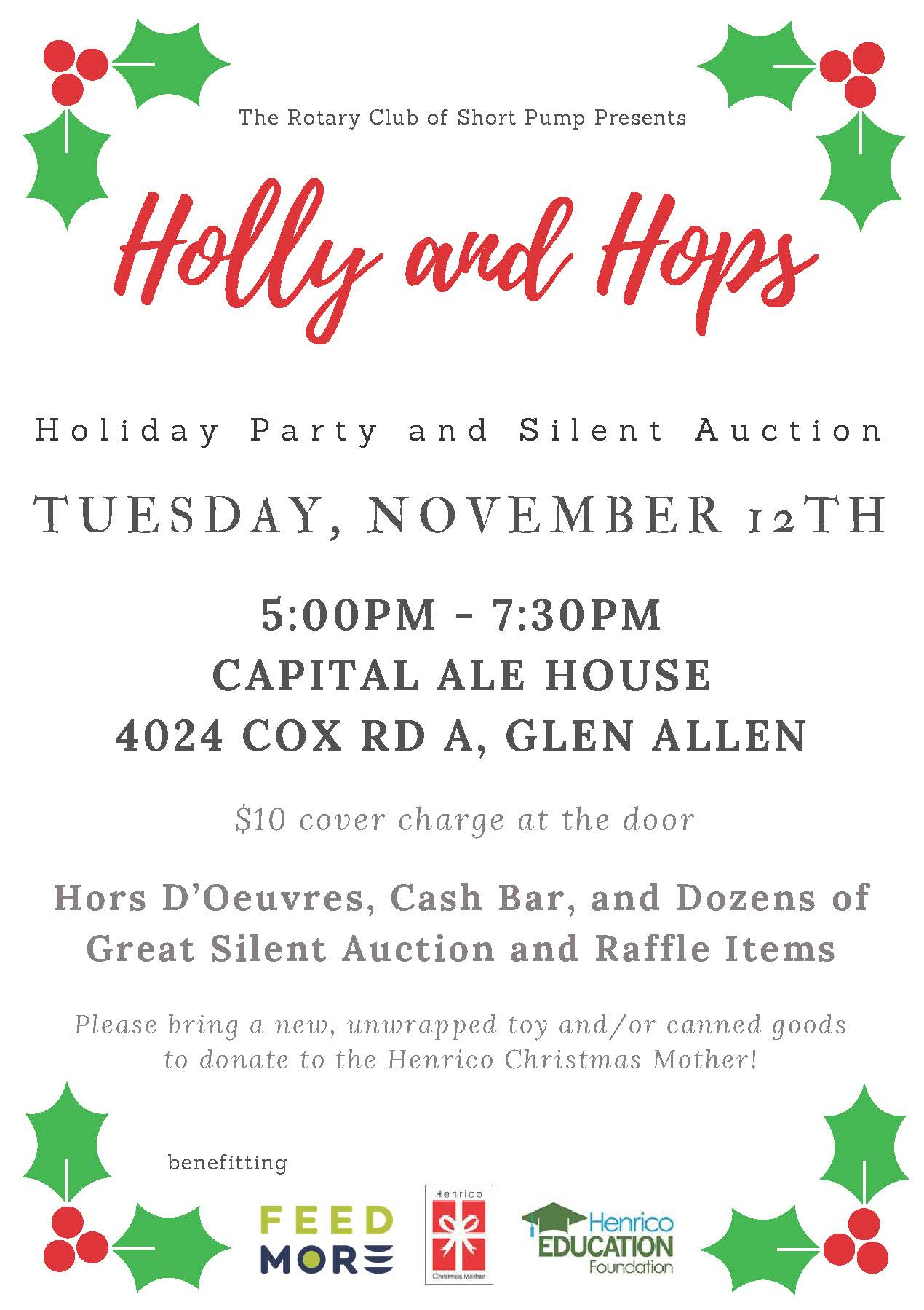 Rotary Club of Short Pump Holly and Hops Flyer 2019