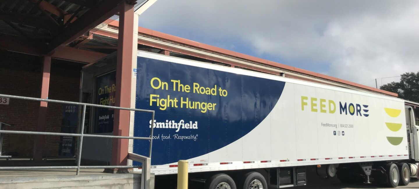 Smithfield Foods truck donation to Feed More