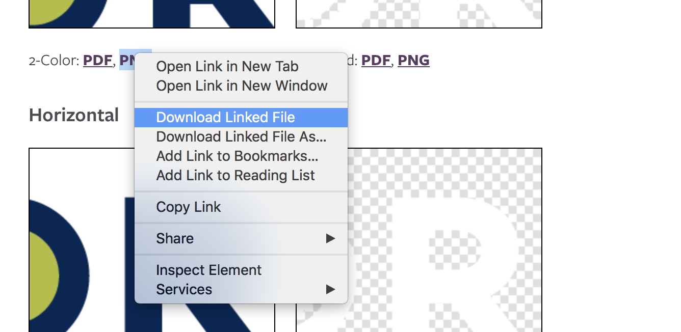 Right-Click Menu in Safari Web Browser