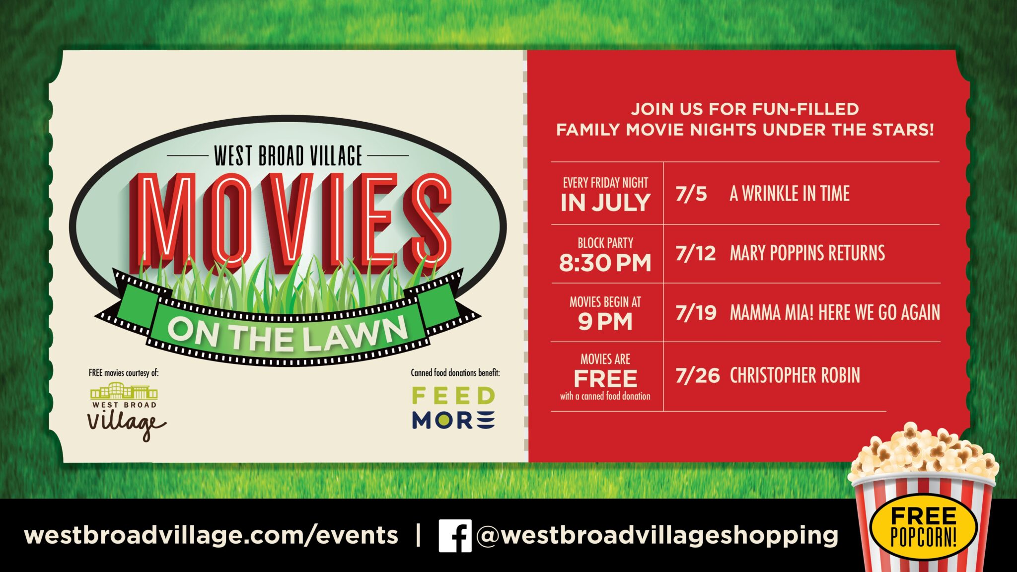 West Broad Village Summer Movies on the Lawn 2019